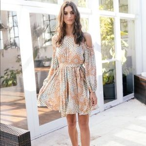 CRYSTAL MAYA PRINT MINI DRESS OPEN SHOULDER JAASE